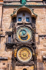 Astronomical Clock. Prague. Czech Republic (vlastapivonka) Tags: prague clock astronomical tower ancient antique architecture astrological astrology astronomy chronology city culture czech design dial europe european gothic historical history horoscope hour landmark mechanism medieval minute monument moon number bridge charles old praha republic round science sign solar square star sun symbol technology time tourism town travel year zodiac