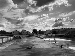Looking from the roof (wojciechpolewski) Tags: roof landscape cityscape clouds street poland blancoynegro blanconegro blackwhite photo photos polska