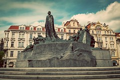 Jan Hus Memorial on the Old Town Square of Prague, Czech Republic (vlastapivonka) Tags: prague czech republic jan hus memorial janhus old town praha europe travel building bohemia eastern european landmark historic medieval view summer site architecture day place scenic destination attraction capital sky square national famous staromestske namesti hussite czechrepublic vintage retro