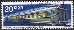 Deutsche Briefmarken (micky the pixel) Tags: briefmarke stamp ephemera deutschland deutschepost ddr technik schienenfahrzeug eisenbahnfahrzeug waggon weitstreckenpersonenwagentyp47dk