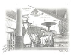 Fish Taco Encounter (rod1691) Tags: myart art sketchbook bw scfi grey concept custom car retro space hotrod drawing pencil h2 hb original story moonpie fantasy funny tale automotive illustration greyscale moonpies sketch sexy voodoo