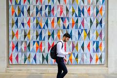 You've been framed (The Green Album) Tags: london commuter street framed wall art installation diamonds multicoloured man walking spitafields fujifilm xt2