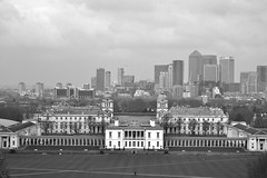 National Maritime Museum, Greenwich, London.... (markwilkins64) Tags: greenwich thecity canarywharf london thames thethames uk nationalmaritimemuseum greenwichpark maritimemuseum blackandwhite bw mono monochrome cityscape markwilkins skyclouds atmospheric