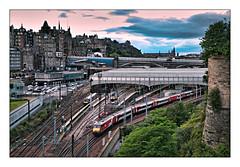 Postcard from the Pink Hour (david.hayes77) Tags: class82 scotland dvt drivingtrailer lner regentroad dusk pinkhour 2019 5s25 evening edinburgh edinburghwaverley 1s25