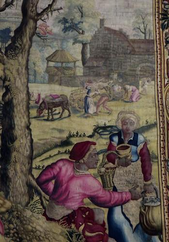 Détail, tapisserie des Mois de Lucas (Manufacture des Gobelins, Paris, XVIIe), château royal de Pau, Béarn, Pyrénées-Atlantiques, Nouvelle-Aquitaine, France.