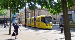 UK - Manchester tram (onewayticket) Tags: street city urban tram transport metrolink bombardier m5000 bombardierm5000 alloverlivery