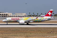 """Swiss Bombardier CSeries CS300 aka Airbus A220-300 'HB-JCA' painted in """"Fête des Vignerons 2019 - Fichtre"""" special (Chris_Camille) Tags: swiss bombardier cseries cs300 aka airbus a220300 hbjca painted fêtedesvignerons2019fichtre special spottinglog registration planespotting spotting maltairport airplane aircraft plane sky fly takeoff airport lmml mla aviationgeek avgeek aviation canon5d canon livery myphoto myphotography"""