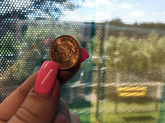 UK copper penny coin stock photo (GoSimpleTax) Tags: money uk sterling new style £1 coins £10 £20 £5 legal tender queen royal bank banking budget savings saving purse cash paper note notes plastic buy purchase hand over buying shops shopping budgeting save