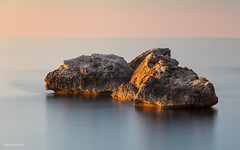 Lone bolder in the sea (He Ro.) Tags: 2019 mallorca tramuntana llucalcari deià coast sea seascape rock sunset colours majorca spain spanien longexposure