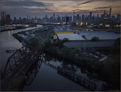 **FLY AT YOUR OWN RISK** (Rich Zoeller Photography) Tags: newyorkcity newyork unitedstatesofamerica richzoeller zoeller thatkidrich ny nyc dji drone airel empirestatebuilding esb sunset dawn reflections queens canal industrial landscape railroad tracks bridge skyline rails buildings explore risk