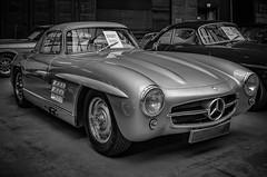 The legendary Mercedes 300 SL with wing doors - b&w (Peters HDR hobby pictures) Tags: petershdrstudio hdr classiccar car mercedes mercedesbenz blackwhite klassiker oldtimer auto schwarzweis classicremise flügeltüren
