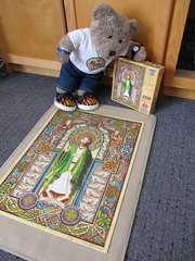 Saint Patrick, whoever 'e is... (pefkosmad) Tags: jigsaw puzzle hobby leisure pastime incomplete used secondhand stpatrick bookofkells tailtengames rachelarbuckle art painting ted teddy bear tedricstudmuffin animal toy cute cuddly plush fluffy soft stuffed