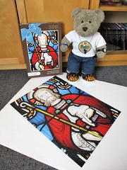 Oh blimey, stained glass now! (pefkosmad) Tags: jigsaw puzzle hobby leisure pastime teddy bear ted tedricstudmuffin animal toy cute cuddly plush fluffy soft stuffed friendsofstjames rosewindow unopened sealed complete 500pieces stainedglass myphotopuzzlecouk