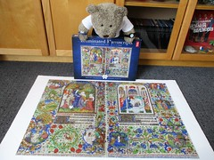 Eeloominayted Mannerscripps, or sumfink... (pefkosmad) Tags: jigsaw puzzle hobby leisure pastime ted teddy bear tedricstudmuffin animal toy cute cuddly plush fluffy soft stuffed bedfordhours incomplete secondhand used 1000pieces cannymindsltd