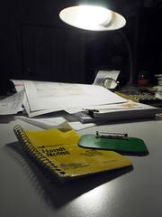 Yellow. Green. Know what I mean? (LeftCoastKenny) Tags: utata ironphotographer yellow green lamp lensflare desk paper utata:description=hide utata:project=ip285 notepad badge