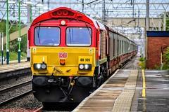 66105 @ Acton Bridge (A J transport) Tags: class66 diesel 66105 dbcargo freight locomotive shed red wcml railway trains track england platform dlsr d5300 nikkon fast