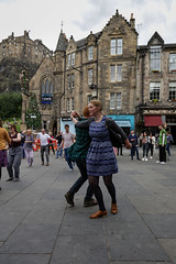 Edinburgh Swing Dance Society Grassmarket July 2019-11 (Philip Gillespie) Tags: edinburgh city urban swing dance society scotland grassmarket men women boys girls kids family friendly hands feet heads arms legs colour blue green red yellow castle outdoor outside canon 5dsr photography event workshops classes public lindy hop dresses hair faces shoes moving open spaces street pavement