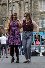Edinburgh Swing Dance Society Grassmarket July 2019-28 (Philip Gillespie) Tags: edinburgh city urban swing dance society scotland grassmarket men women boys girls kids family friendly hands feet heads arms legs colour blue green red yellow castle outdoor outside canon 5dsr photography event workshops classes public lindy hop dresses hair faces shoes moving open spaces street pavement