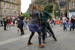 Edinburgh Swing Dance Society Grassmarket July 2019-26 (Philip Gillespie) Tags: edinburgh city urban swing dance society scotland grassmarket men women boys girls kids family friendly hands feet heads arms legs colour blue green red yellow castle outdoor outside canon 5dsr photography event workshops classes public lindy hop dresses hair faces shoes moving open spaces street pavement