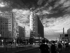 Berlin Alexanderplatz (Renate R) Tags: berlin blackwhite alexanderplatz light street sky clouds