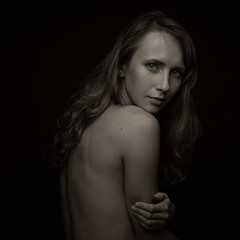 Amarutta (bcud14) Tags: woiman studio nude blackandwhite monochrome portrait dark lowkey square