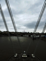 The View From the Golden Jubilee Bridge (Steve Taylor (Photography)) Tags: goldenjubileebridge foundation architecture crane bridge cable uk gb england greatbritain unitedkingdom london silhouette cloud riverthames