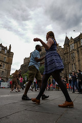 Edinburgh Swing Dance Society Grassmarket July 2019-91 (Philip Gillespie) Tags: edinburgh city urban swing dance society scotland grassmarket men women boys girls kids family friendly hands feet heads arms legs colour blue green red yellow castle outdoor outside canon 5dsr photography event workshops classes public lindy hop dresses hair faces shoes moving open spaces street pavement