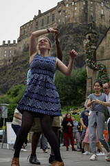 Edinburgh Swing Dance Society Grassmarket July 2019-75 (Philip Gillespie) Tags: edinburgh city urban swing dance society scotland grassmarket men women boys girls kids family friendly hands feet heads arms legs colour blue green red yellow castle outdoor outside canon 5dsr photography event workshops classes public lindy hop dresses hair faces shoes moving open spaces street pavement