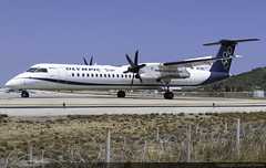 Olympic Air Bombardier Dash-8 Q402 SX-OBC @ Skiathos Airport (LGSK/JSI) (Joshua_Risker) Tags: skiathos airport lgsk jsi island alexandros papadiamantis greece aircraft aviation plane planespotting planespotter avgeek jet olympic air bombardier dash8 dh8d q400 q402 sxobc