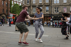 Edinburgh Swing Dance Society Grassmarket July 2019-51 (Philip Gillespie) Tags: edinburgh city urban swing dance society scotland grassmarket men women boys girls kids family friendly hands feet heads arms legs colour blue green red yellow castle outdoor outside canon 5dsr photography event workshops classes public lindy hop dresses hair faces shoes moving open spaces street pavement