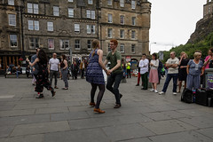 Edinburgh Swing Dance Society Grassmarket July 2019-50 (Philip Gillespie) Tags: edinburgh city urban swing dance society scotland grassmarket men women boys girls kids family friendly hands feet heads arms legs colour blue green red yellow castle outdoor outside canon 5dsr photography event workshops classes public lindy hop dresses hair faces shoes moving open spaces street pavement