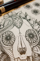 cat skull damask WIP (Scrummy Things) Tags: sharonturner scrummy spoonflower illustration cat skull snake drawing catskull flowers floral gervera cosmos halloween spooky scary gothic pattern wip workinprogress rotring pen paper newpen