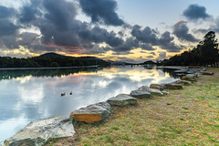 Rain Clouds, Reflections and Bay Waterscape (Merrillie) Tags: daybreak woywoy sunrise nature dawn reflections boats newsouthwales clouds earlymorning nsw brisbanewater water bay morning australia coastal landscape sky waterscape waterfront centralcoast ducks outdoors