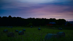 hay bales (MariaMargy) Tags: farm field hay bales scenery sunset sky purple pink color green barn alliston ontario farming canada july summer nikon beauty explore photography landscapes landscape