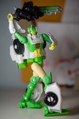DSC_5996 (Quantum Stalker) Tags: transformers greenlight dazzlestrike battlemaster exclusive amazon limb combiner power primes elita repaint fembot takara hasbro roadster flaming sword