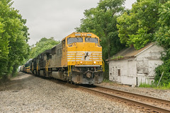19-3994 (George Hamlin) Tags: virginia white post railroad freight train abandoned station building emd dc ac conversion diesel locomotive trees sky yellow nose manifest photodecor george hamlin photography