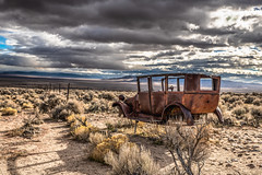 White Pine County, Nevada (paccode) Tags: wreck d850 landscape desert bushes brush serious nevada quiet abandoned creepy jalopy solemn scary forgotten modelt colorful fence baker unitedstates