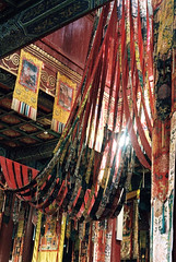 Amarbayasgalant (Cath Forrest) Tags: amarbayasgalant red temple colours interior religion buddhism mongolia monastery cloth hangings selenge