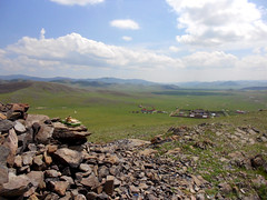 Amarbayasgalant (Cath Forrest) Tags: amarbayasgalant monastery buddhism mongolia selenge religion ovoo cairn stones offerings view valley green wide panorama high sky blue