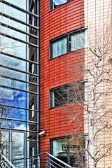 opgedeeld (roberke) Tags: architecture architectuur modern gebouw building gevel facade windows ramen vensters trees bomen reflections reflecties red rood sky clouds wolken lines lijnen
