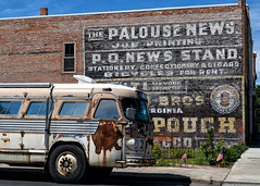 Old time Americana (trochford) Tags: building brickwall paintedwall ads signs advertisements bus tourbus geneautry old americana yesteryear palouse palousewa palousewashington washington inlandnorthwest us usa unitedstates canon canon6d ef24105mmf4lisusm ef24105