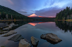 Mt Hood Sunset Glow (Cole Chase Photography) Tags: mthood sunset reflections pacificnorthwest triliumlake alpenglow