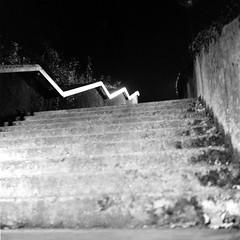 Shiny Zig-Zag (ucn) Tags: stairs treppe rheinmetallweltax berggerpancro400 moerschecofilmdeveloper tessar75mmf35 night