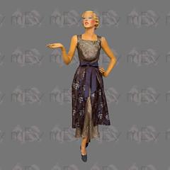 1950s Overskirt With Long Shot Silk Ribbon Ties (Rickenbackerglory.) Tags: vintage 950s siegel mannequin overskirt shotsilk ribbon