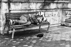 Take a nap / Bilbao / Spain 2019 (zilverbat.) Tags: bilbao spain spanje zilverbat blackwhitephotos blackandwhite blackwhite monochrome zwartwitfotografie zwartwit mono people pin peopleinthecity citylife visit candidphotography image innercity candid bench urbanlife urban peopleinthestreet black blanco street sleep sleeping marble poverty stphotographia