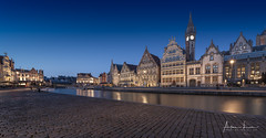 Ghent Blue Hour IV (Alec Lux) Tags: graslei architecture belgie belgium blue bluehour building buildings canal city cityscape exterior facade gent ghent golden goldenhour haida haidafilters lights longexposure outdoor outside reflection skyline urban water