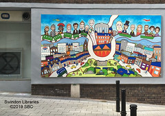 "2019: Artsite Mural at Theatre Square, Swindon - ""Swindon: Then, When & Now"" (Local Studies, Swindon Central Library) Tags: 2019 2010s sbc colour publicart mural theatresquare swindon wiltshire art painting billybeaumont artsite"