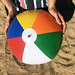 Beach ball in the sand stock photo image