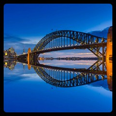 Harbour Blues (One_eye2011) Tags: sydney harbourbridge twilight sea reflection sunset cbd bluesky bluesea