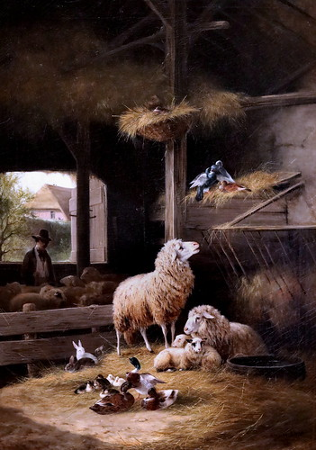 IMG_1171 August Knip. 1819-1859. Amsterdam Baden Baden  Printemps dans la bergerie. Spring in the sheepfold. 1858 Hertogenbosch. Het Noordbrabants Museum